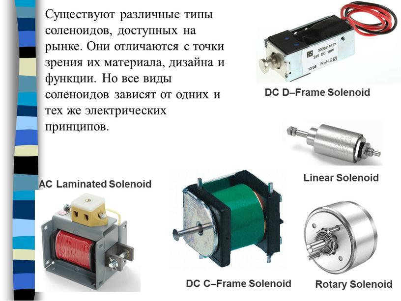 Существуют различные типы соленоидов, доступных на рынке