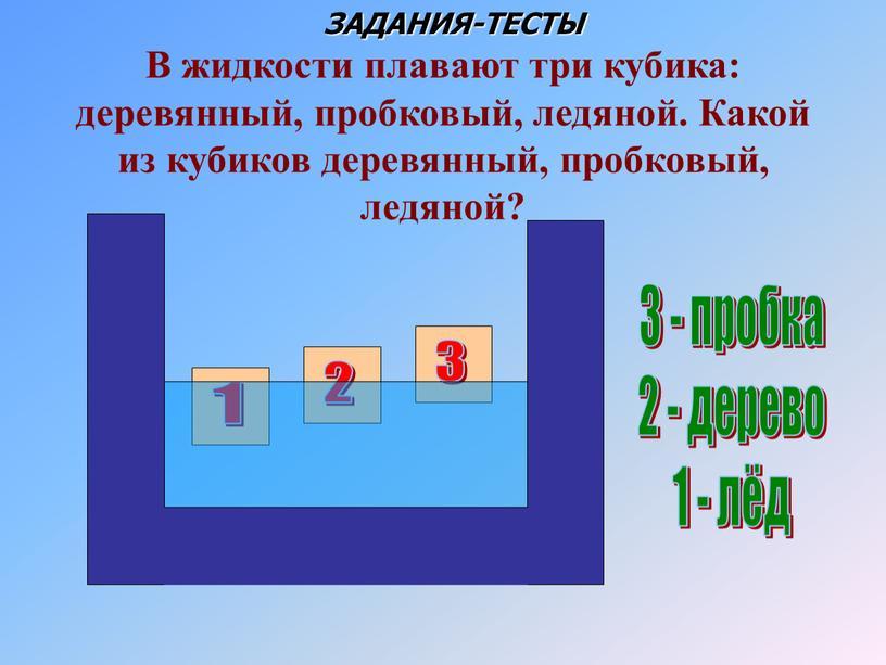 В жидкости плавают три кубика: деревянный, пробковый, ледяной