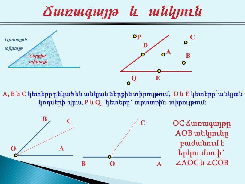 A, B և C կետերը ընկած են անկյան ներքին տիրույթում,