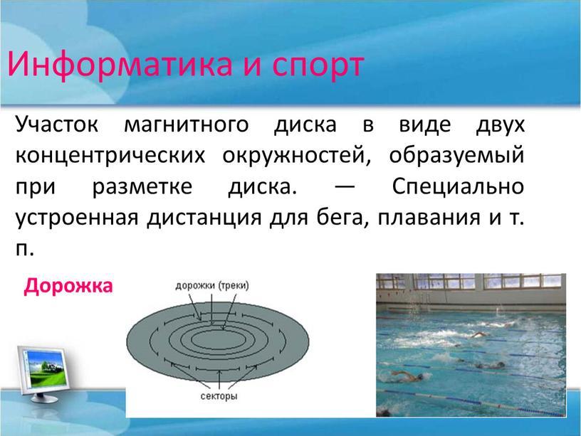 Информатика и спорт Участок магнитного диска в виде двух концентрических окружностей, образуемый при разметке диска