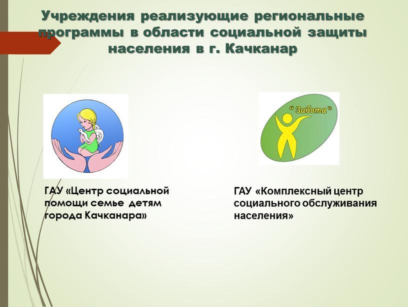 Учреждения реализующие региональные программы в области социальной защиты населения в г