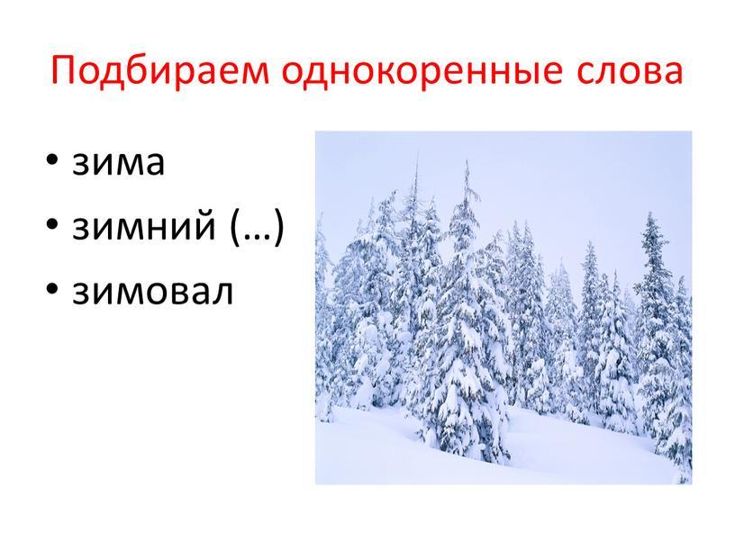 Подбираем однокоренные слова зима зимний (…) зимовал