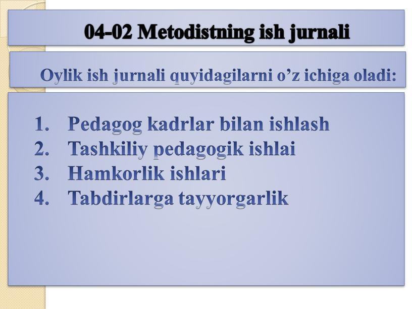 Metodistning ish jurnali Oylik ish jurnali quyidagilarni o'z ichiga oladi: