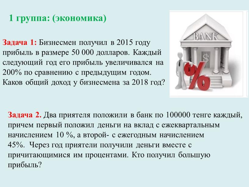Задача 1: Бизнесмен получил в 2015 году прибыль в размере 50 000 долларов