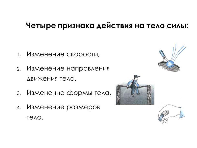 Четыре признака действия на тело силы: