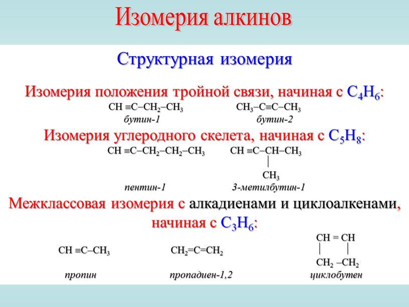 Изомерия алкинов Структурная изомерия