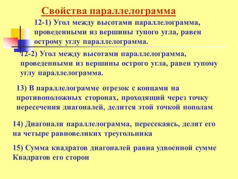 Свойства параллелограмма 12-1)