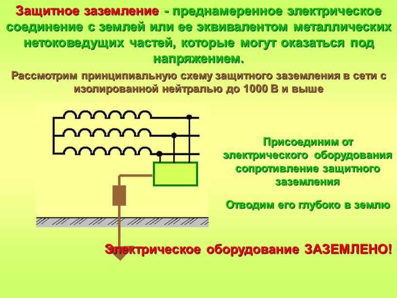 Защитное заземление - преднамеренное электрическое соединение с землей или ее эквивалентом металлических нетоковедущих частей, которые могут оказаться под напряжением