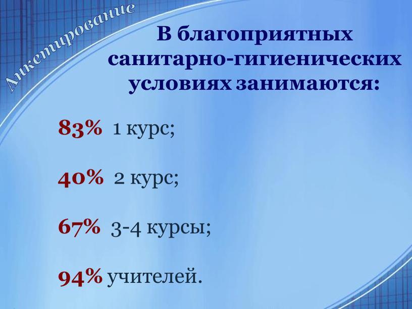 В благоприятных санитарно-гигиенических условиях занимаются: 83% 1 курс; 40% 2 курс; 67% 3-4 курсы; 94% учителей