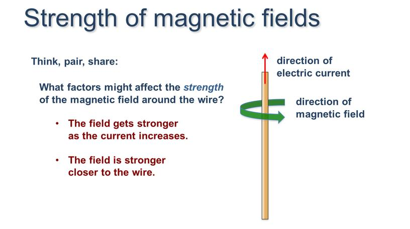 Strength of magnetic fields The field gets stronger as the current increases