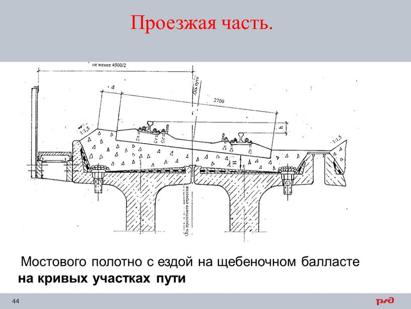 Мостового полотно с ездой на щебеночном балласте на кривых участках пути