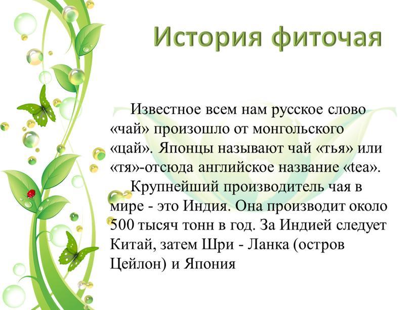 История фиточая Известное всем нам русское слово «чай» произошло от монгольского «цай»