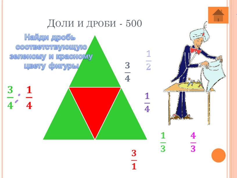 Доли и дроби - 500 Найди дробь соответствующую зеленому и красному цвету фигуры
