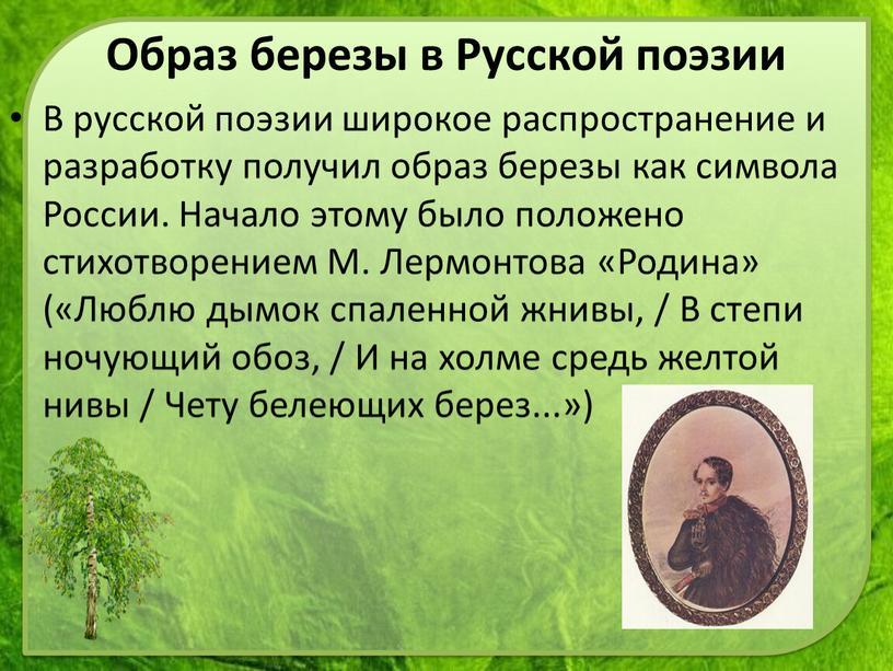В русской поэзии широкое распространение и разработку получил образ березы как символа