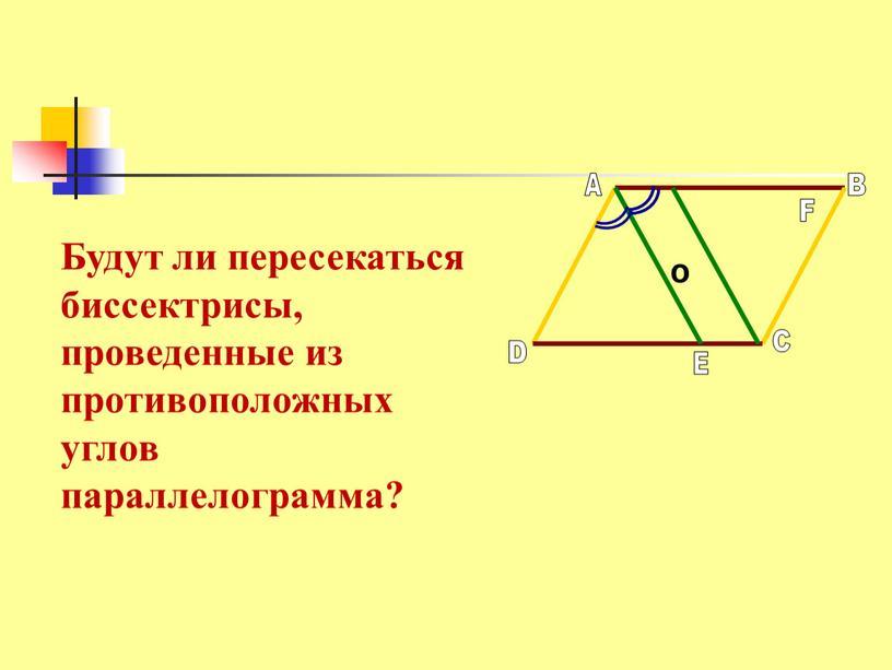 О Будут ли пересекаться биссектрисы, проведенные из противоположных углов параллелограмма?