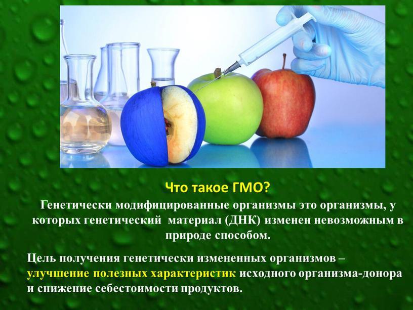 Что такое ГМО? Генетически модифицированные организмы это организмы, у которых генетический материал (ДНК) изменен невозможным в природе способом