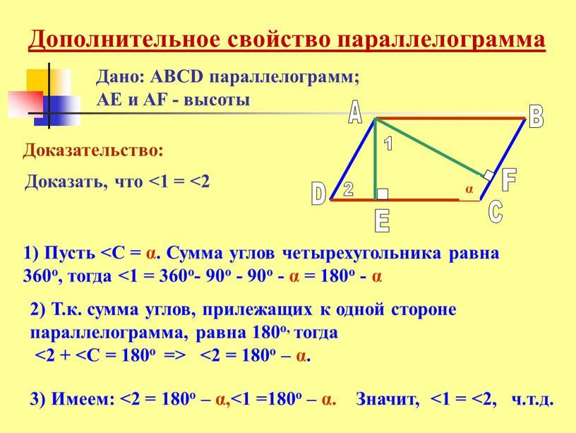 Дано: ABCD параллелограмм; AE и