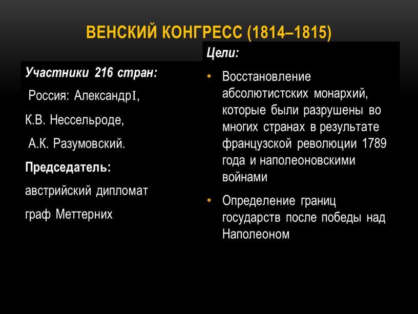 Участники 216 стран: Россия: АлександрI,