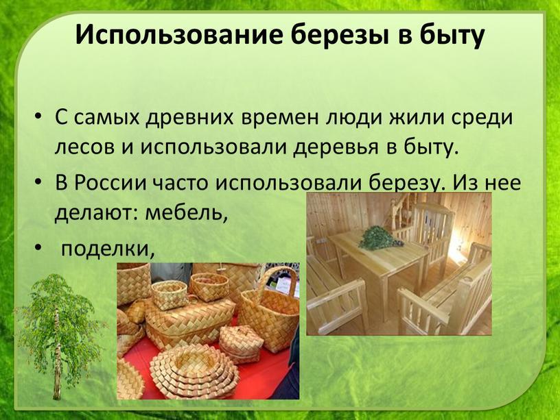 С самых древних времен люди жили среди лесов и использовали деревья в быту
