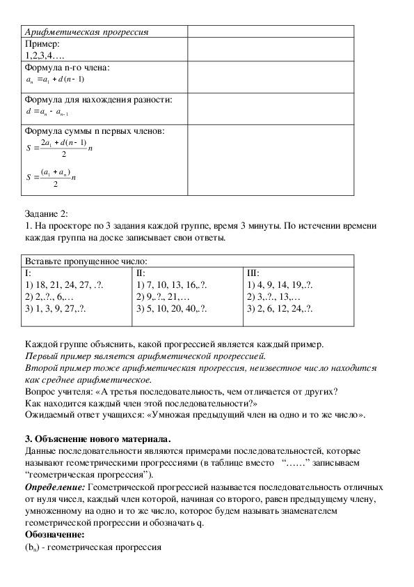"""Открытый урок по алгебре на тему """"Геометрическая прогрессия"""" (9 класс)"""