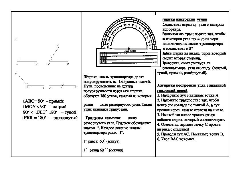 """Урок математики в 5 классе по теме """"Виды углов. Измерение углов"""""""