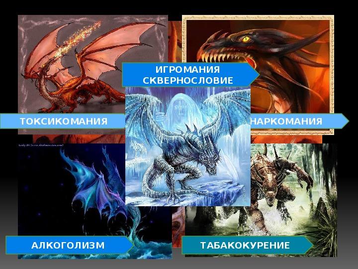 """Презентация к классному часу """"Как победить дракона или удержись от вредной привычки"""""""