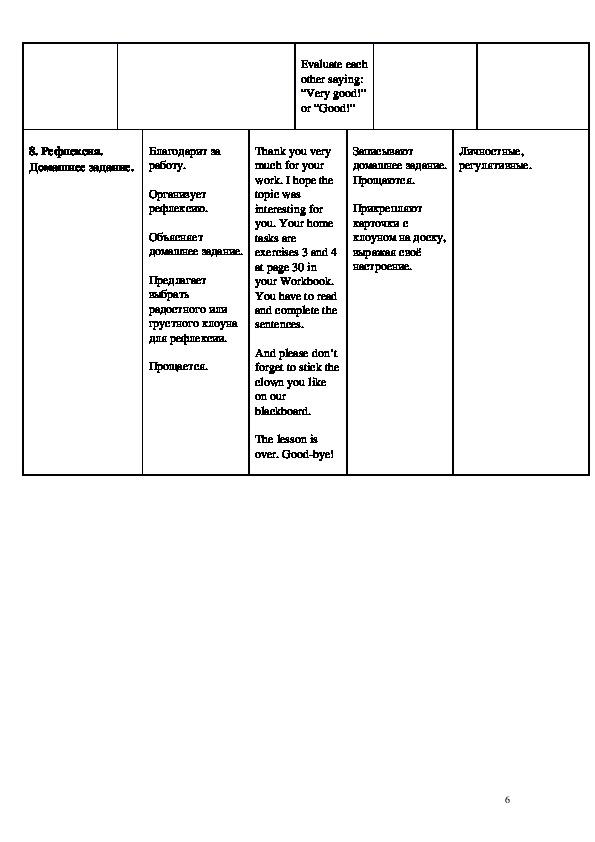 """Технологическая карта урока английского языка по теме """"Цирк"""" во 2 классе"""