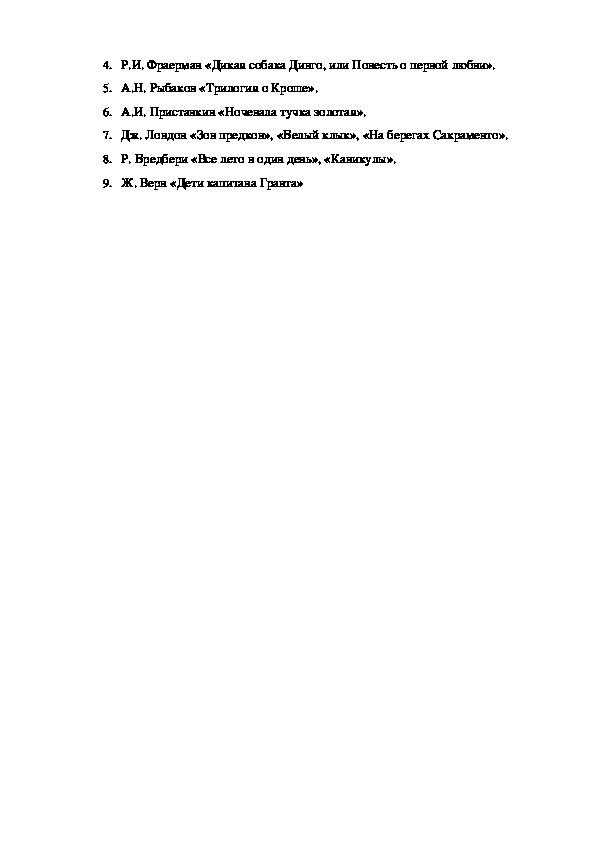 Тема: Контрольный тест по литературе. 6 класс. Рекомендации для летнего чтения.
