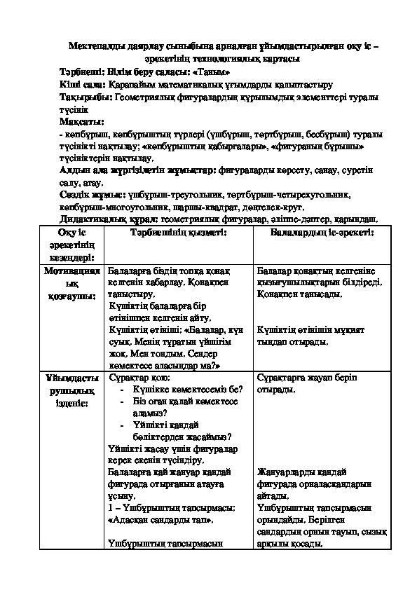 """""""Геометриялық фигуралар"""" оқу іс әрекетінің  тех картасы"""