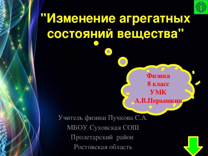 """Презентация по физике """"Изменение агрегатных состояний вещества"""" (8 класс)"""