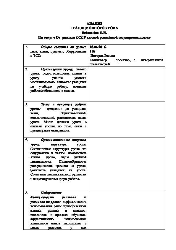 Анализ урока по ФГОСС
