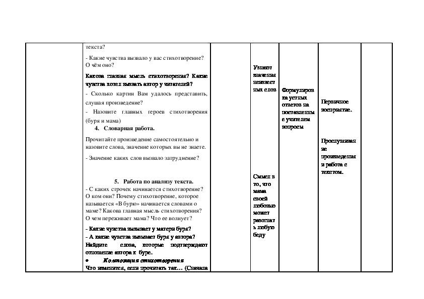 """Конспект урока по литературному чтению на тему: А.Н. ПЛЕЩЕЕВ """"В БУРЮ""""."""