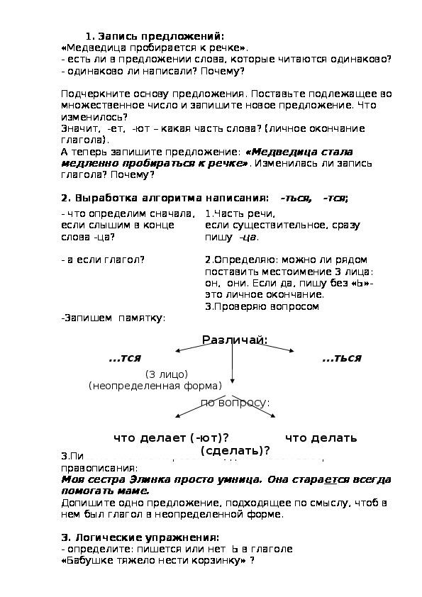 Урок русского языка в 4 классе Тема: Правописание глаголов на  -ться  и -тся.