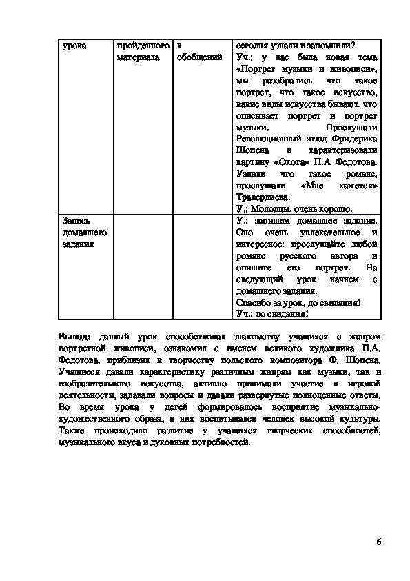 """Методическая разработка урока """"Портрет музыки и живописи"""" 6 класс"""