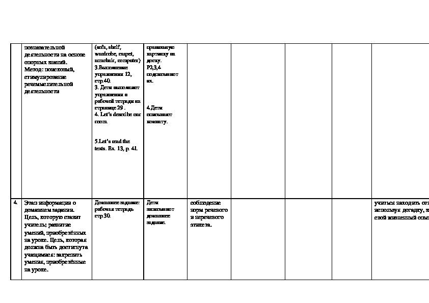 """Технологическая карта по английскому языку по теме """"Мир моих увлечений. Дом. Квартира."""" (2 класс)"""