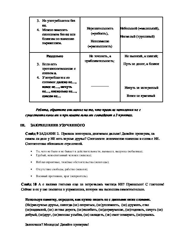 Открытый урок по русскому языку  «Частица НЕ с разными частями речи»