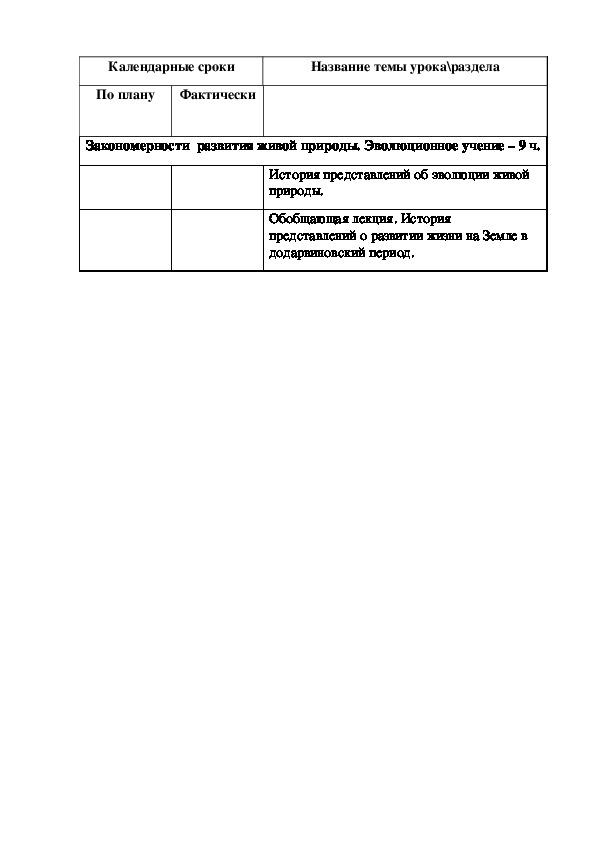 Рабочая программа для 10-11 класс по биологии к учебнику Н.И. Сонина