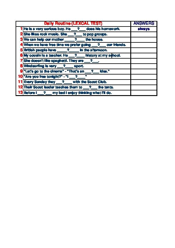 Excel - тест (корректирующий), тема Daily Routine (5-6 класс, английский язык)