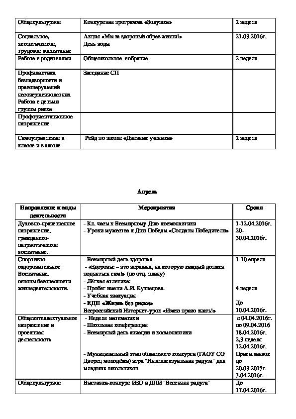 План воспитательной работы 1-3 классы