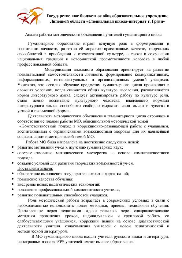 """Доклад """"Анализ работы методического объединения учителей гуманитарного цикла"""""""