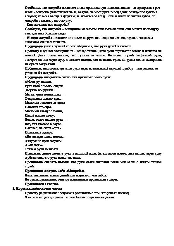 Конспект ОУД по ОБП для дошкольников старшей группы «Наша помощница Гигиена»