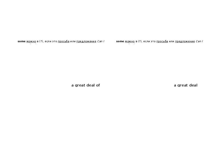 """Схематическое предъявление грамматики """"Неопределенные количественные местоимения"""", английский язык"""