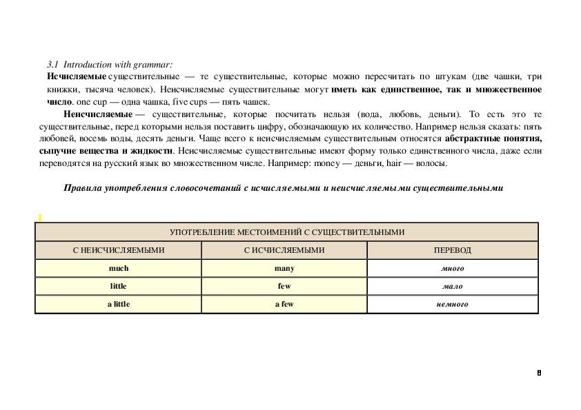 """Методическая разработка урока по английскому языку """"Исчисляемые и неисчисляемые существительные"""""""