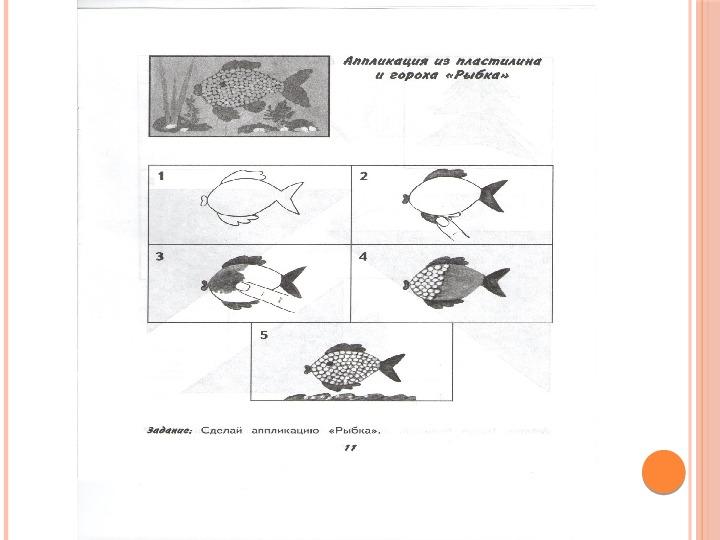 """Презентация к уроку ручной труд для 1 класса. Аппликация из гороха и пластилина """"Золотая рыбка""""."""