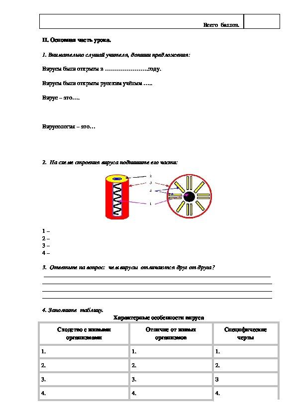 Тема урока: «Вирусы – неклеточные формы жизни». 11 класс