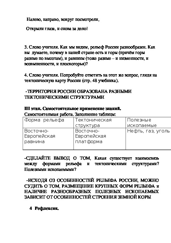Особенности рельефа России