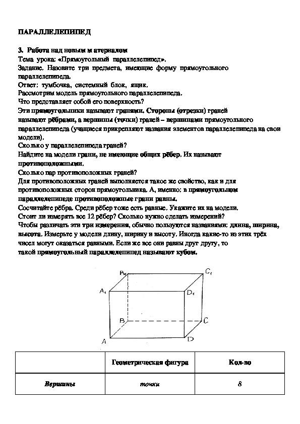 Разработка открытого урока по математике  «Прямоугольный параллелепипед», 5 класс.