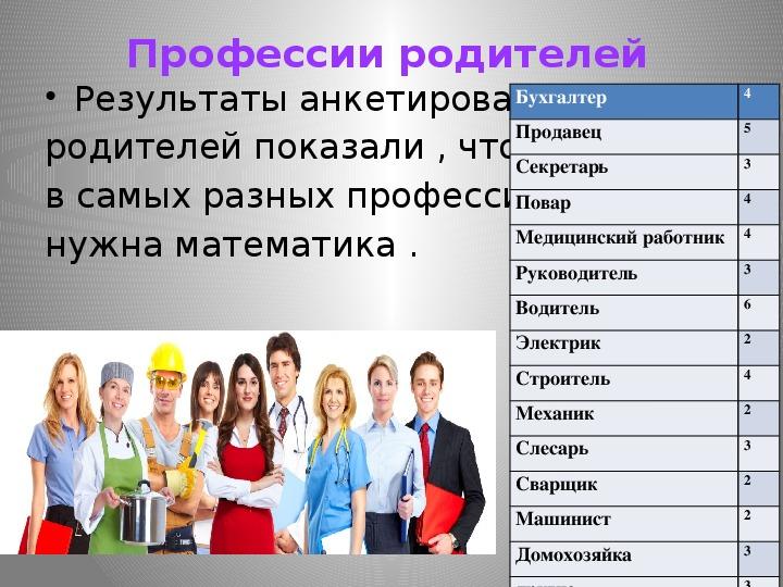 """Исследовательский проект """"Кем быть или пропорции в мире профессий"""""""
