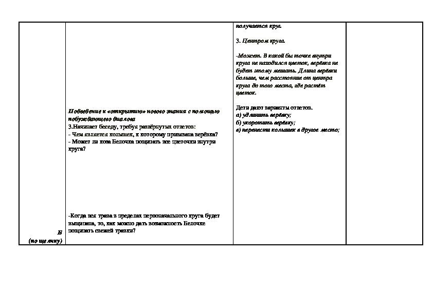 """Конспект урока математики на тему """"Окружность. Круг"""" (3 класс, математика)"""