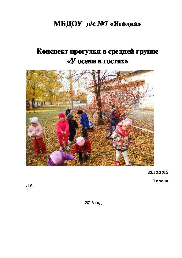 Конспект прогулки в средней группе               «У осени в гостях»